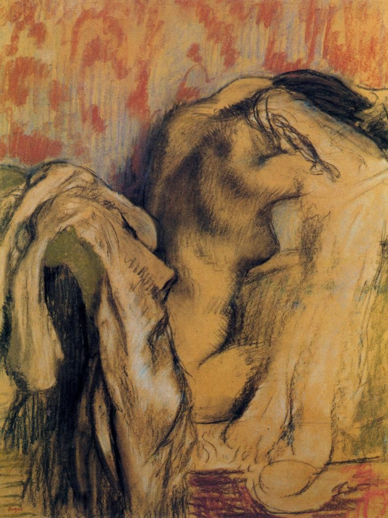 After bathing, woman drying herself, 1905,1907